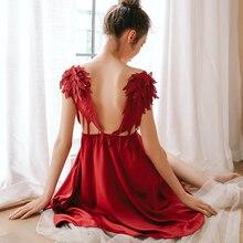 Nowy anioł skrzydła bielizna nocna kobiety Sling Satin miękka sukienka koszula nocna Homewear bielizna Sexy pokusa Sleepshirts