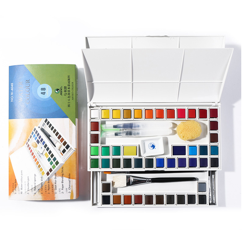 Marie's Solid Watercolor Paint 12/24/36/48 Color Beginner Transparent Watercolor To Send Fountain Pen Art Supplies