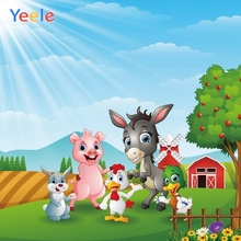 Yeele Children Baby Birthday Party Cartoon Farm Animal Photography Backdrops Custom Photographic Background For Photo Studio
