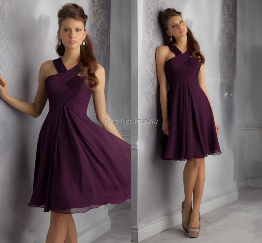 Hot Sale Wedding Party Ruched Plum Bridesmaid Dress Short