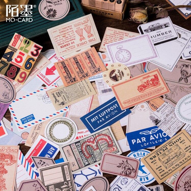 60pcs/lot Retro Letter Paper Memo Tags Old Lady Digital Tickets Label Air Mail Decorative Sticker DIY Scrapbooking Label Escolar