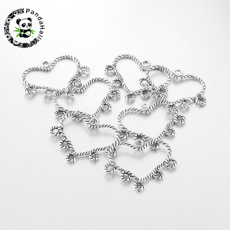 20pcs Tibetan Antique Silver Heart Chandelier Component Charm Links for Necklace Dangle Earring Making 29x34x2mm