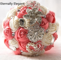 Flores Do Casamento Buquês De Noiva Pérola de Cristal luxuoso Buquê De Casamento Artificial buque de noiva de Cristal Faísca 2017 Nova EE76