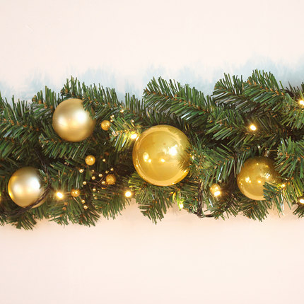 Us 35 5 Aliexpress Com Buy 2 7m Christmas Garland Green With Red Gold Bows Lights Ornaments Christmas Decorations For Home Decorations Christmas