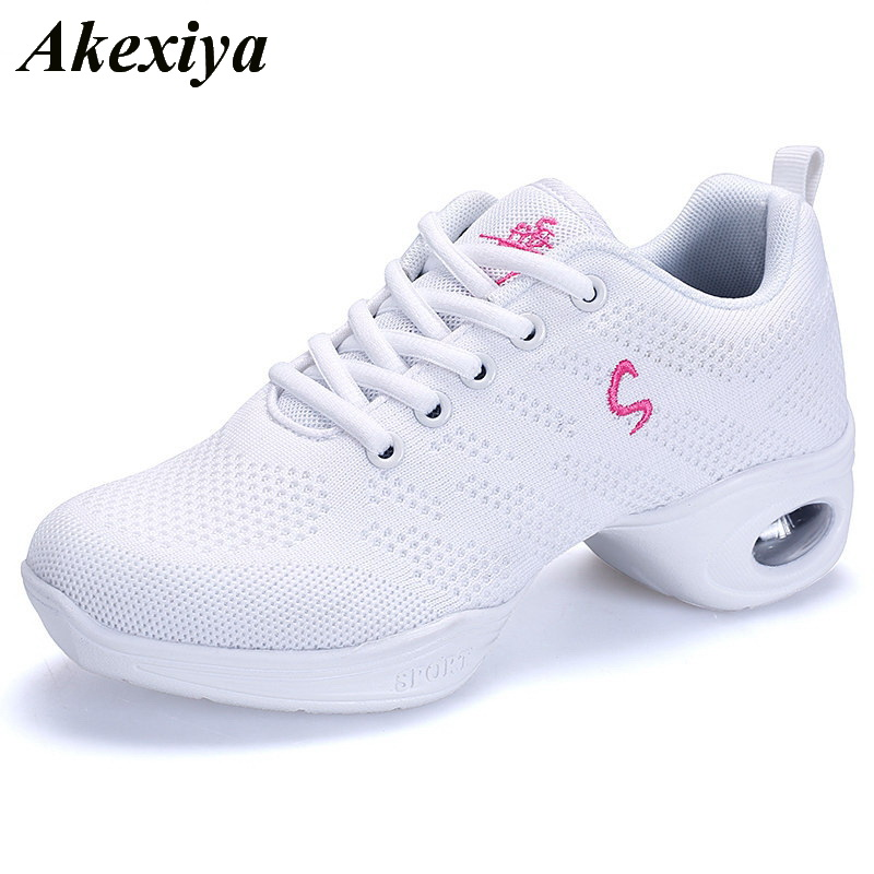 2019 Women Sneakers Shoes Soft Outsole Breath Dancing Shoes For Woman High Quality Modern Jazz Dance Shoes Ladies Sports Shoes(China)