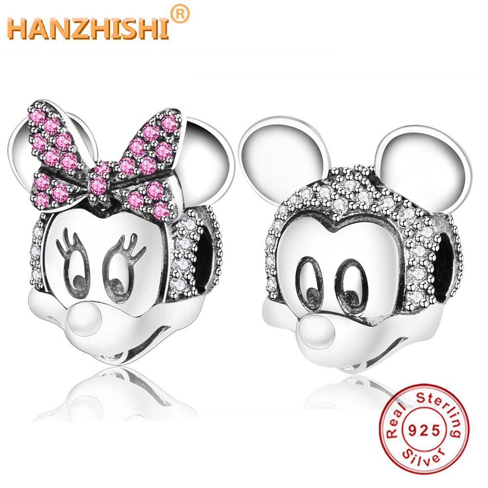 Fit Pandora Original Charm Bracelet Beads 925 Sterling Silver Two-tone Minnie Mickey Retrato Clipe Charme 2018 Inverno DIY jóias