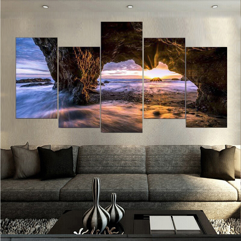 High Quality Canvas Printings El Matador State Beach Painting Wall Art Home Decoration 5 PCS Canvas Unframed Free shipping