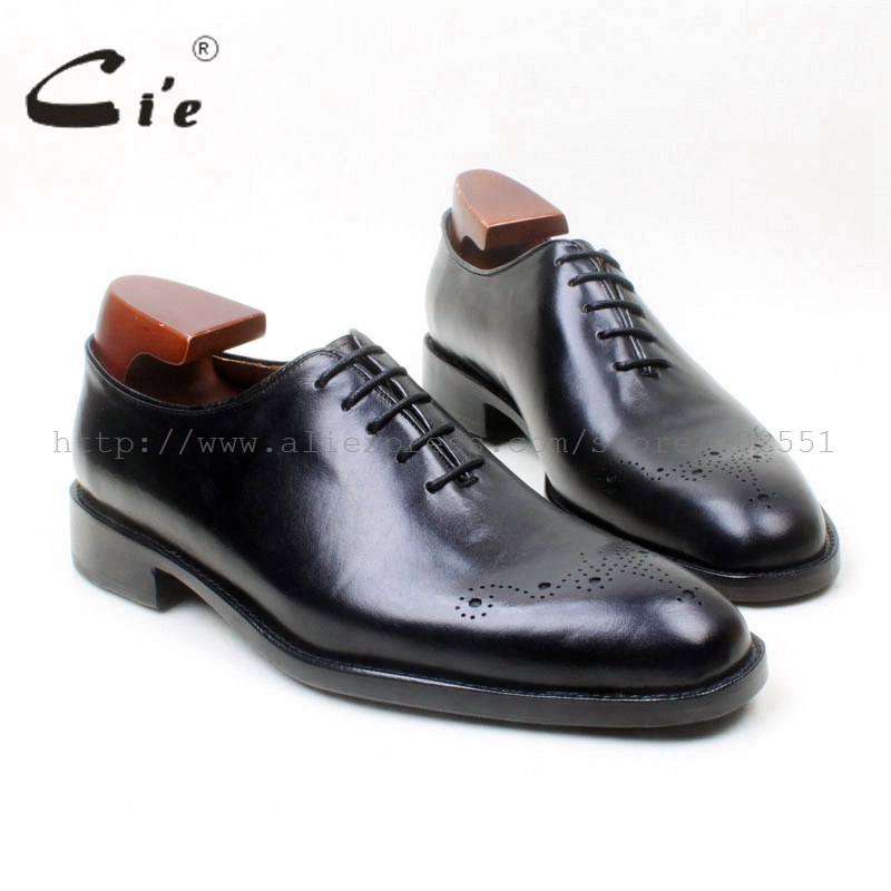 cie Round Toe Carving Whole-Cut Solid Black Lace-Up Oxfords 100%Genuine Calf Leather Bottom Outsole Breathable Men's Shoe OX671 купить часы haas lt cie mfh211 zsa
