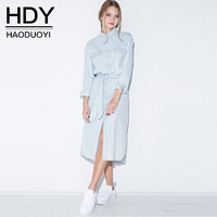 HDY Women's Dress Long Sleeve Denim Dresses Light Blue Turn Down Collar Women Dress 2019 Spring Vintage Casual Denim Dresses