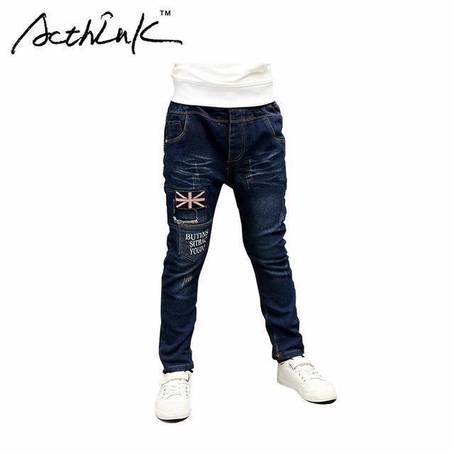 ActhInK Chicos Denim Patchwork Pantalones Letra de Los Niños Jeans para Niños Marca Estilo Coreano Pantalones de Algodón Niños Outwear Pantalones, MC125