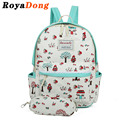 RoyaDong 2017 Portfolio School Bags For Teenagers Girls Canvas Lace Printing Backpacks Set For Women Backpack And Pencil Bags