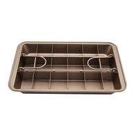 Checkered Brownie Mould Cake Bread Baking Mold Nonstick Pan Bakeware with Built in Slicer