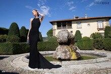 High quality Black Count strain Chiffon Custom made women dress Mermaid Halter Openback Floor length Formal Evening prom dress