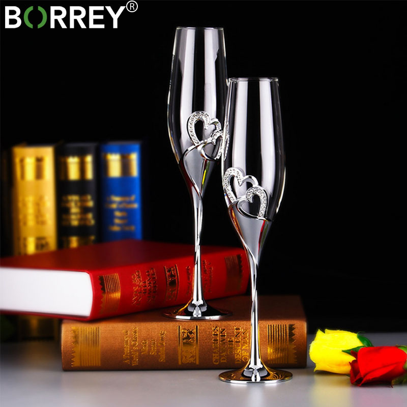 BORREY 2 Pcs/Set Wine Glass Cup Lead free Crystal Goblet Jetable Champagne Flutes Glasses Party Wine Glass Home Drinking Goblet|Other Glass| |  - title=