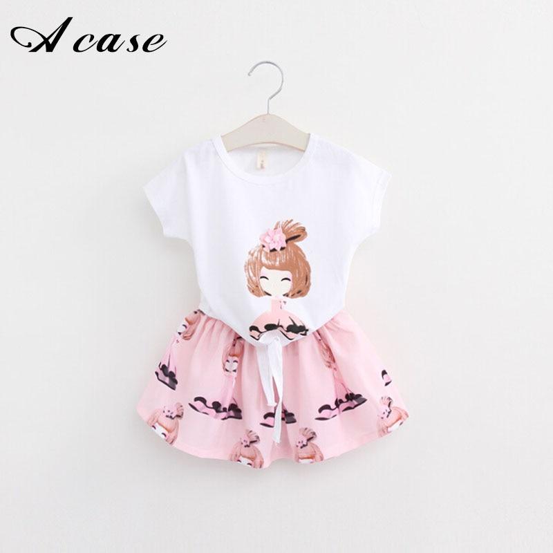 2018 Summer New Children's Clothes Short Sleeve T-shirt + Skirt Little Girls 2 Piece Tops Skirts Suit Kids 2 3 4 5 6 7 8 Years