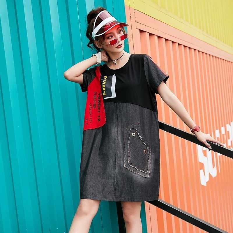Max LuLu модная Корейская Брендовая женская летняя джинсовая одежда женские негабаритных мини-платья с принтом с коротким рукавом в стиле пэчворк Vestidos