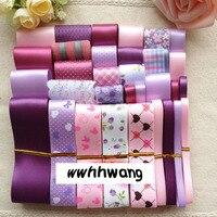 Бесплатная доставка 31 yardsElegant розовый фиолетовый стиль ленты, Типа Смешивания Печать Grosgrain Ленты Луки Свадьба Деко Ремесло