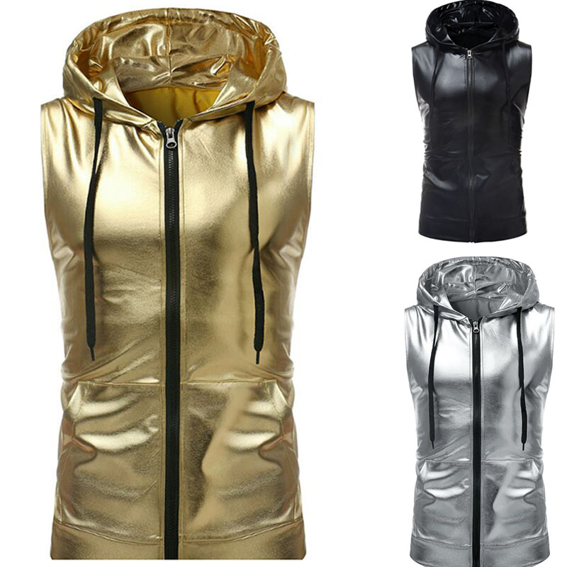 Fashion Oversized Shiny Metallic Hooded Vest Men Hoodie Zipper Bomber Tank Singer Hippie Street Club Waistcoat Dance Top For Men