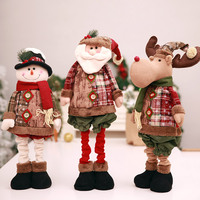 Stretchable Grid Santa Claus Snowman Reindeer Standing Dolls Christmas Tree Ornaments Gift Toy for Home Decoration SD452