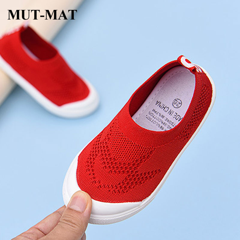 Children Soft Shoes Boys Woven Fabrics Fashion Shoes Girls Breathable Mesh Pedal Casual Stretch Shoes 1-5 Years Baby Candy Shoes