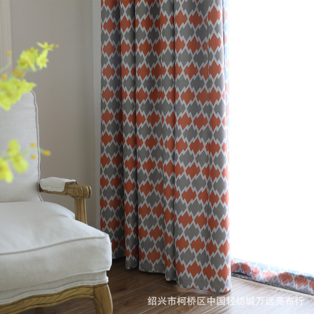 Boreal Europe Style Shade Curtains Geometric Pattern Printing Blackout For Bedroom And Living Room