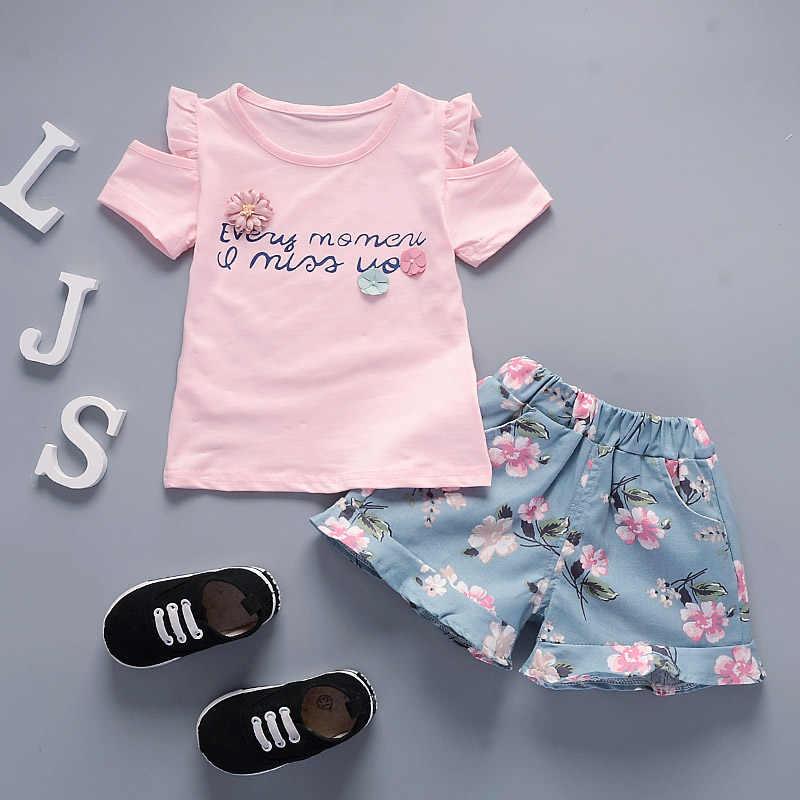 Bibicola Zomer Meisjes 2 Stuks Set Peuter Kleding Baby Meisjes Leuke Top + Bloem Shorts Sport Suits Baby Meisjes Zomer kleding Set