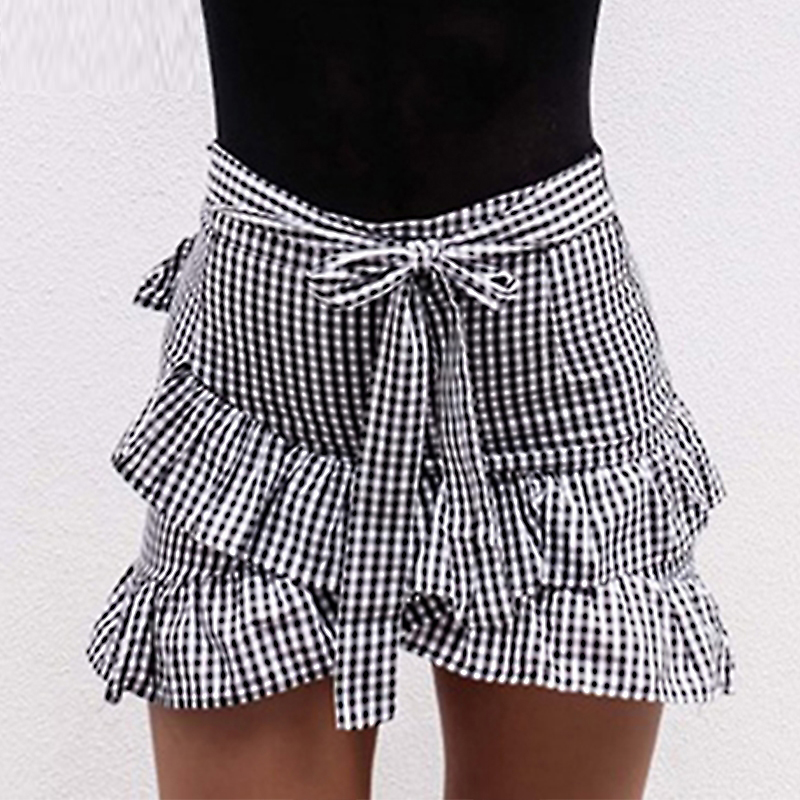 Lovery Sweat Women Plaid Skirt Stretch High Waist Skater Flared Ruffle Skirt Lady Fashion Pleated Skirt Short Mini Beach Skirts