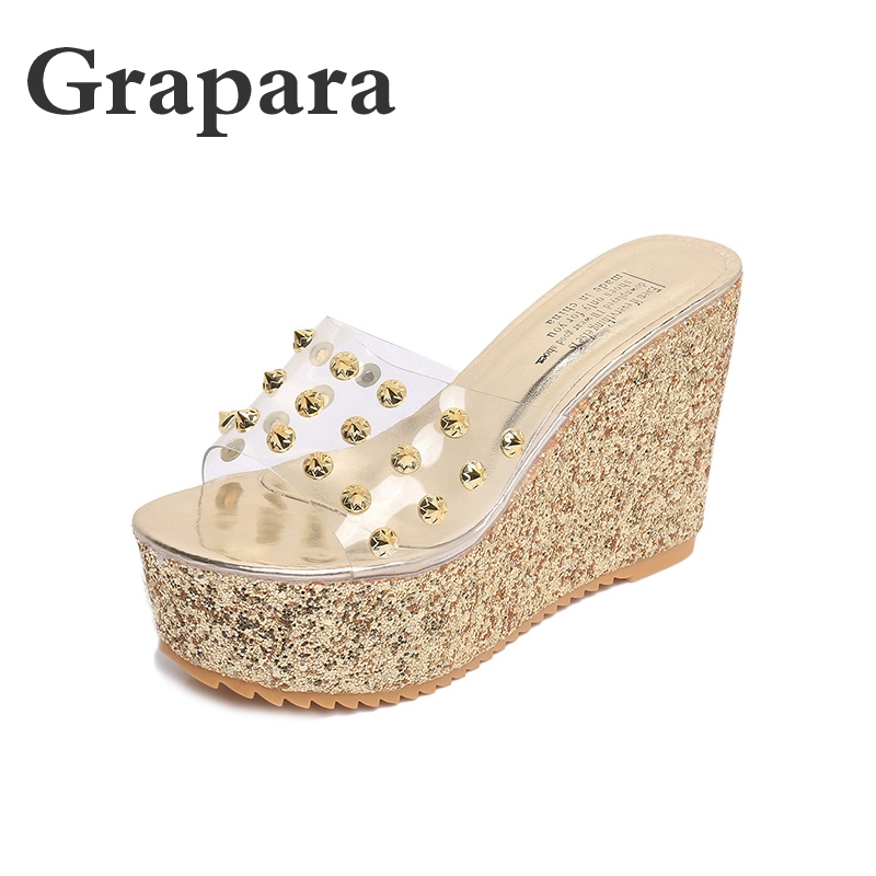 6dbe6b4f7f1 Summer Slippers Women Shoes Woman Slides Fashion Floral Platform Shoes  Female Elegant High Heel Wedges Gold Ladies Shoes Grapara