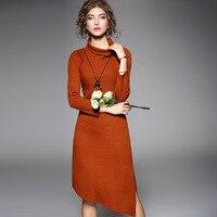 Elastic knit turtleneck sweaters dress 2017 new brand runway women autumn dress top quality fashion solid slim irregular dress