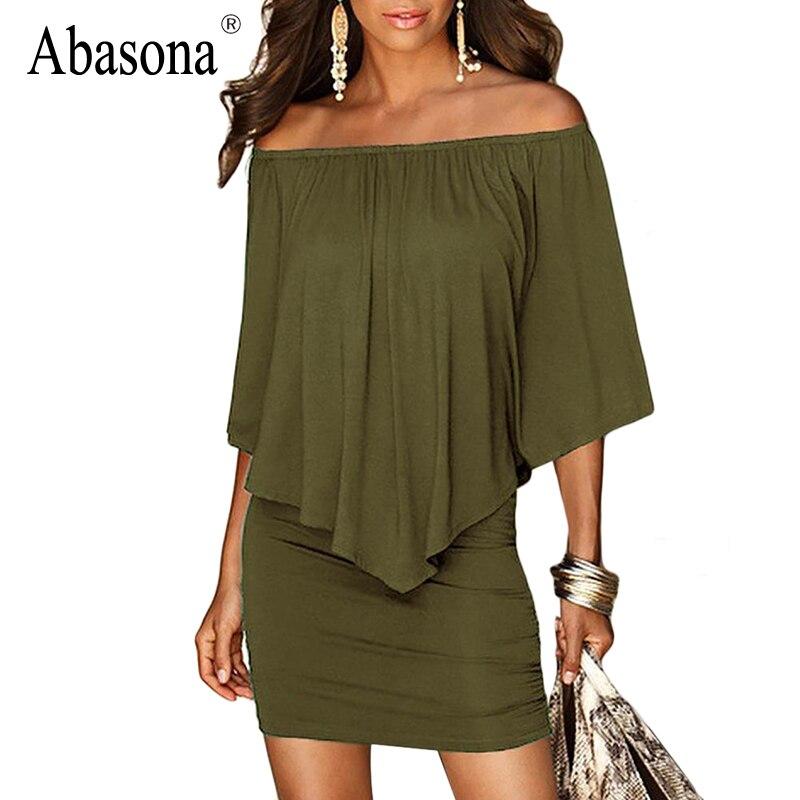 Abasona Ruffles Off Shoulder Sexy Women Summer Dress Black Red Army Green Mini Beach Dress Strapless