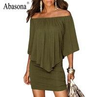 Abasona Ruffles fuera del hombro atractivo de las mujeres del verano vestido Negro verde del ejército rojo mini vestido de la playa Sin Tirantes del vestido ocasional vestidos