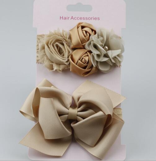 on sale 2pcs 2017 New Girl Christmas Gifts Rosette Satin Rose Flower Lace Headband Shabby Chic Vintage Big Bowknot Headband