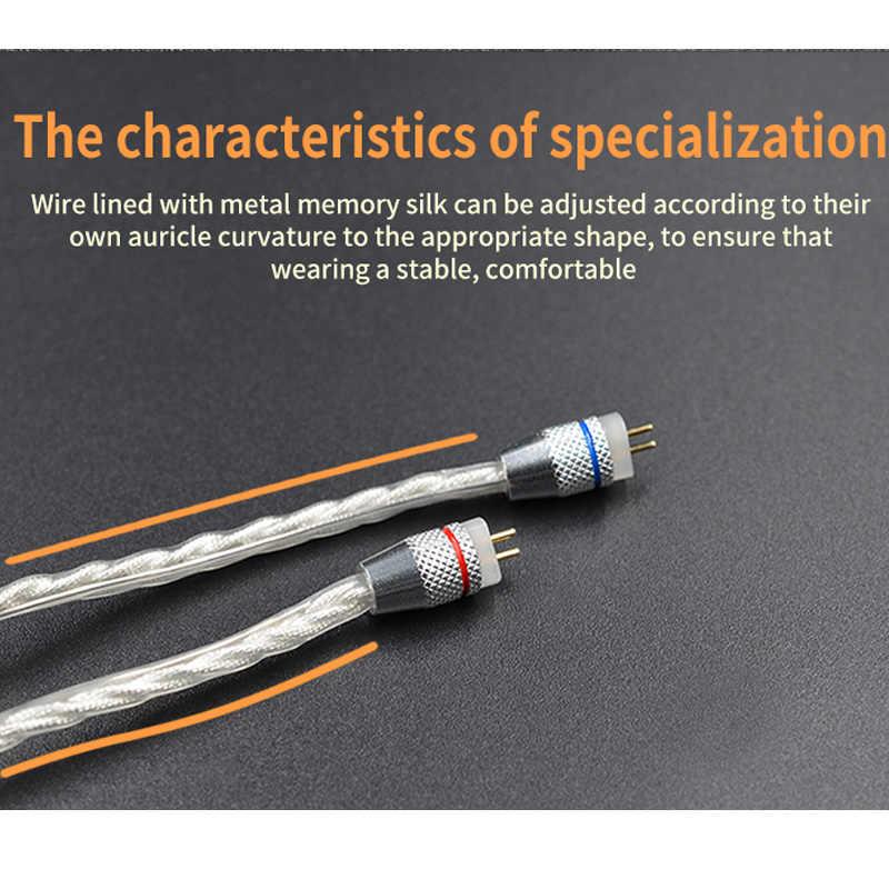 KZ 0.75mm 2-Pin 2 PIN do naprawy srebrny kabel KZ ED12 ZSR zs10 słuchawki kable zs6 zs10 BA10 zs16 mmcx dla shure se535 senfer xba