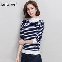 Lafarvie New Women Cashmere Sweaters And Pullovers Autumn Turtleneck Long Sleeve Pullovers Female Stripe Casual Knitting