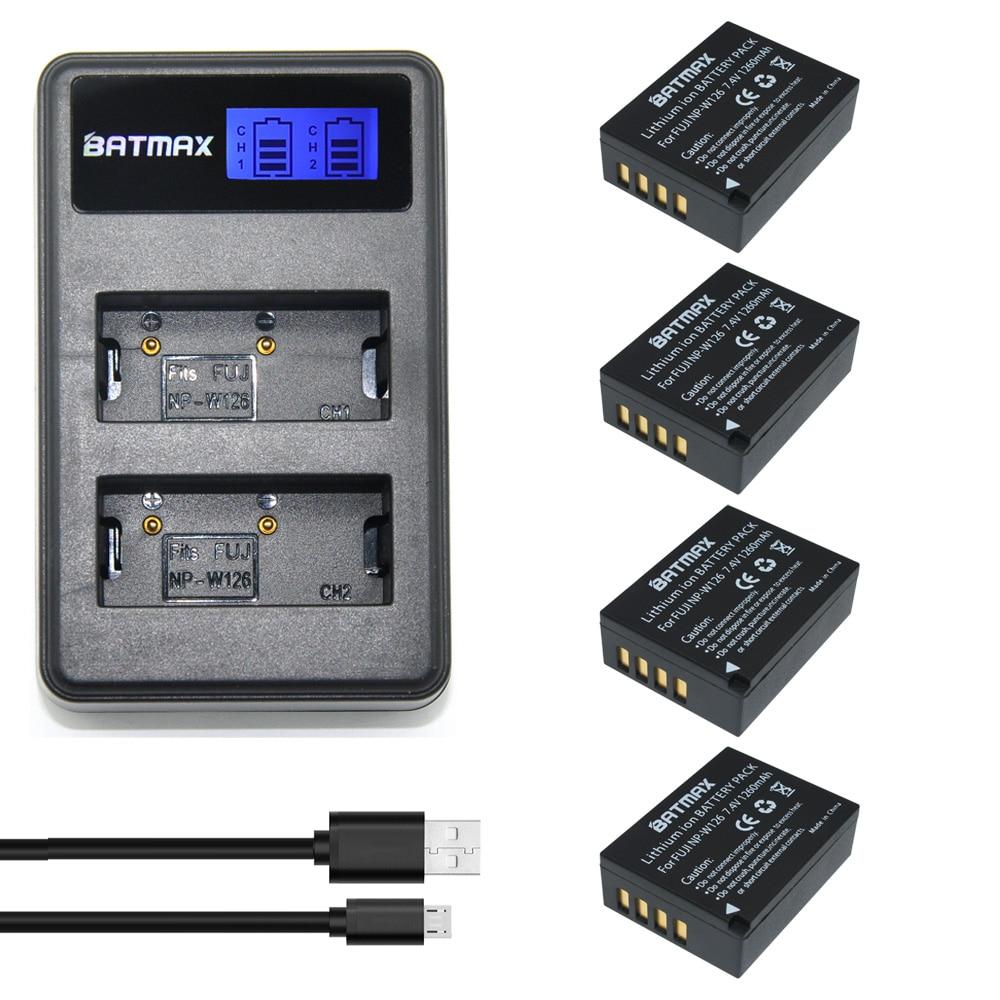 4 Pcs 1260 mAh NP-W126 W126 NP NPW126 Batteries & LCD Double Chargeur pour Fujifilm FinePix HS30EXR, HS33EXR, X-Pro1, X-E1, X-E2, X-M1