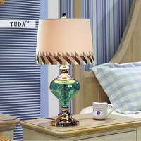 TUDA 34x61cm Free Shipping Mediterranean Sea Type Table Lamps For bedroom Living Room Blue glass Lampshade Table Lamp E27