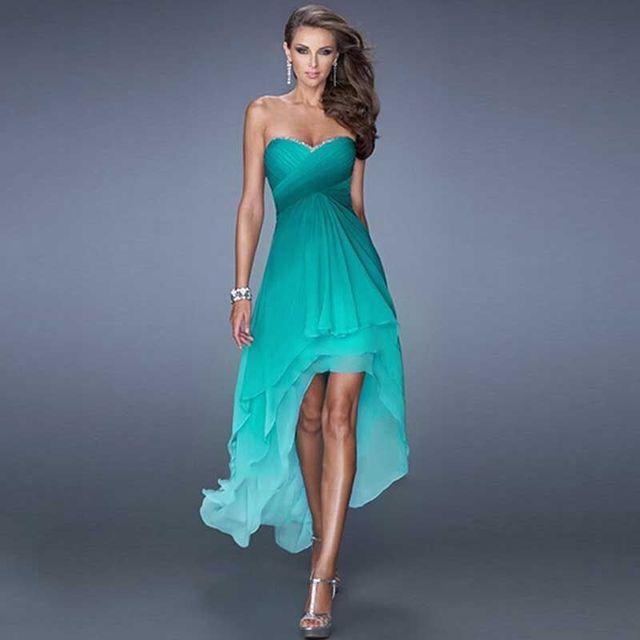 Mint High Low Prom Dress