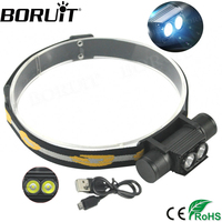 Boruit 2000LM 2 XP G2 LED Mini Headlight 6 Mode USB Rechargeable Headlamp Hunting Fishing Frontal