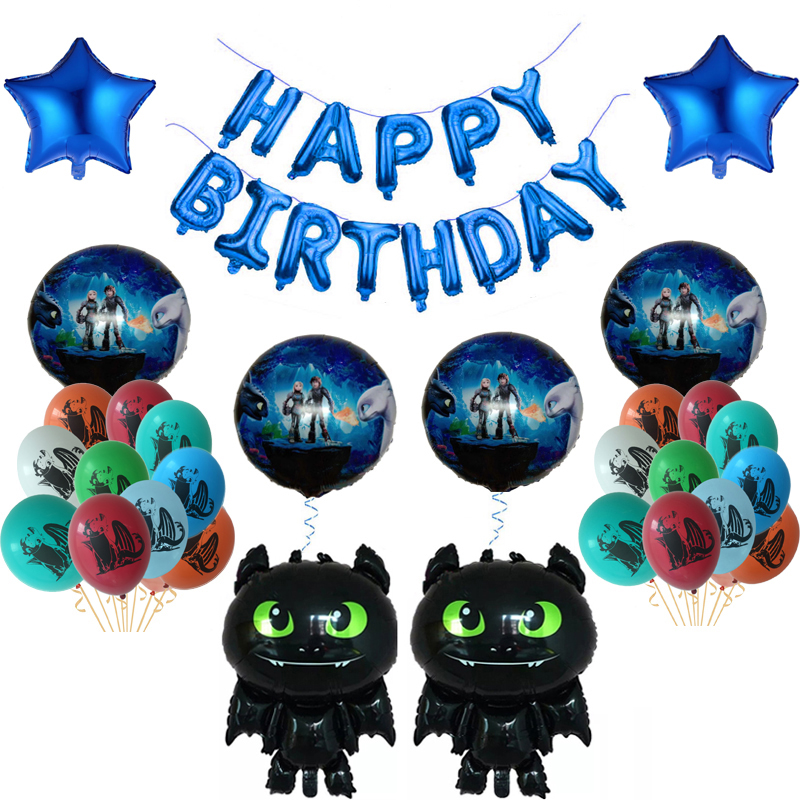 How To Train Your Dragon Inflatable Balloon Cartoon Toothless Ballon Happy Birthday Party Baby Shower Decoration Kids Boy Globos