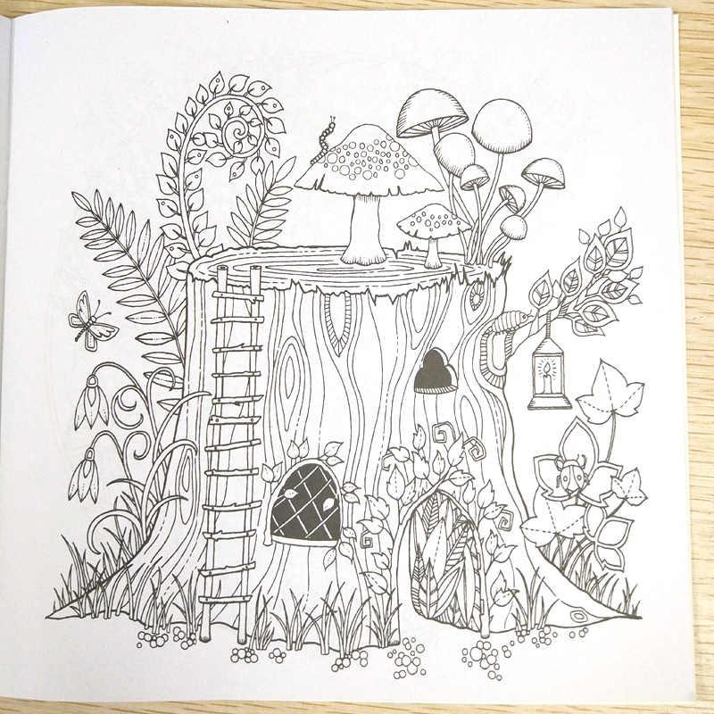 24 Halaman Mewarnai Buku Terpesona Hutan Buku Anak-anak Antistress Dewasa Mewarnai Buku untuk Orang Dewasa Livre Gambar/Art/Mewarnai pesan