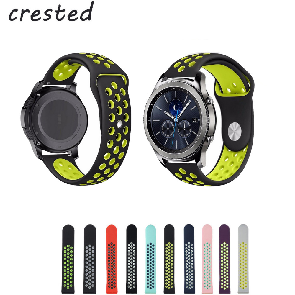 CRESTED sport silicone strap for samsung gear s3 watch band 22mm xiaomi huami amazfit cor bracelet watchband black rubber band silicone rubber watch band strap replacement smartwatch bands link bracelet for samsung galaxy gear s2 sm r720 black blue red