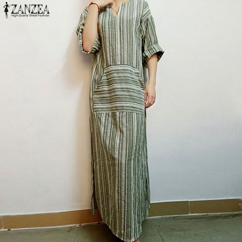 ZANZEA Women Striped Dress 2018 Autumn Vintage Casual Loose Maxi Long Dresses Sexy V Neck Long Sleeve Vestidos Plus Size 2