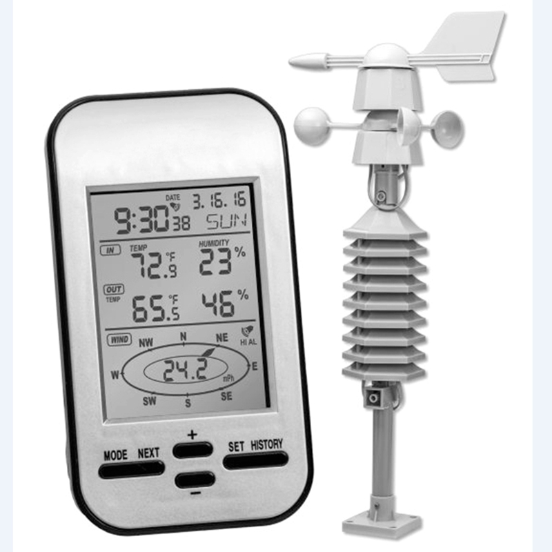 Professional Wireless Weather Station Anemometer With Wind Speed Direction Sensor Digital Wind Chill Temperature Humidity Meter