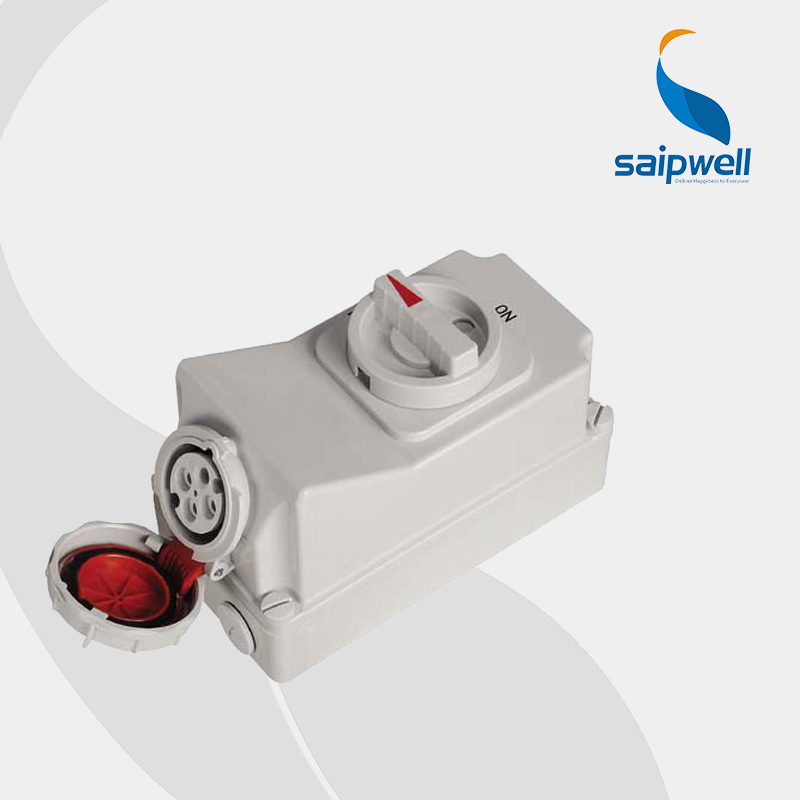 IP67 4P 32A 400V Interlock Switch Socket (SP-5605) 2014 good quantity ip67 iee iec 4p 440v 32a socket use for refrigerated container sp5792