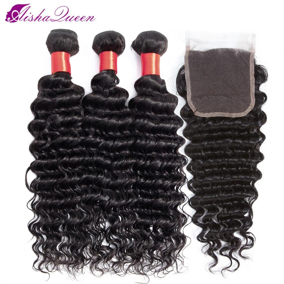 Aisha Queen Deep Wave Human Hair Bundles With Closure 4 Pcs Brazilian Hair Weave Bundles With