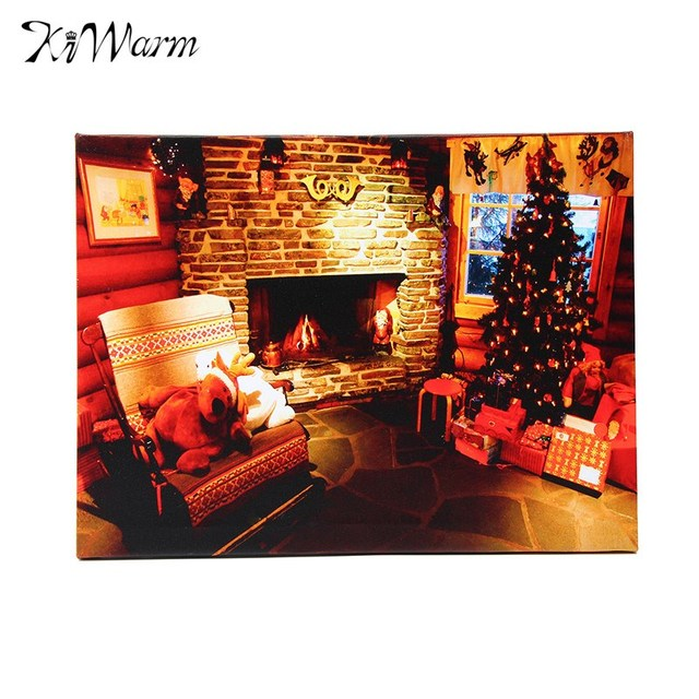 kiwarm led light up christmas tree cabin canvas painting print for
