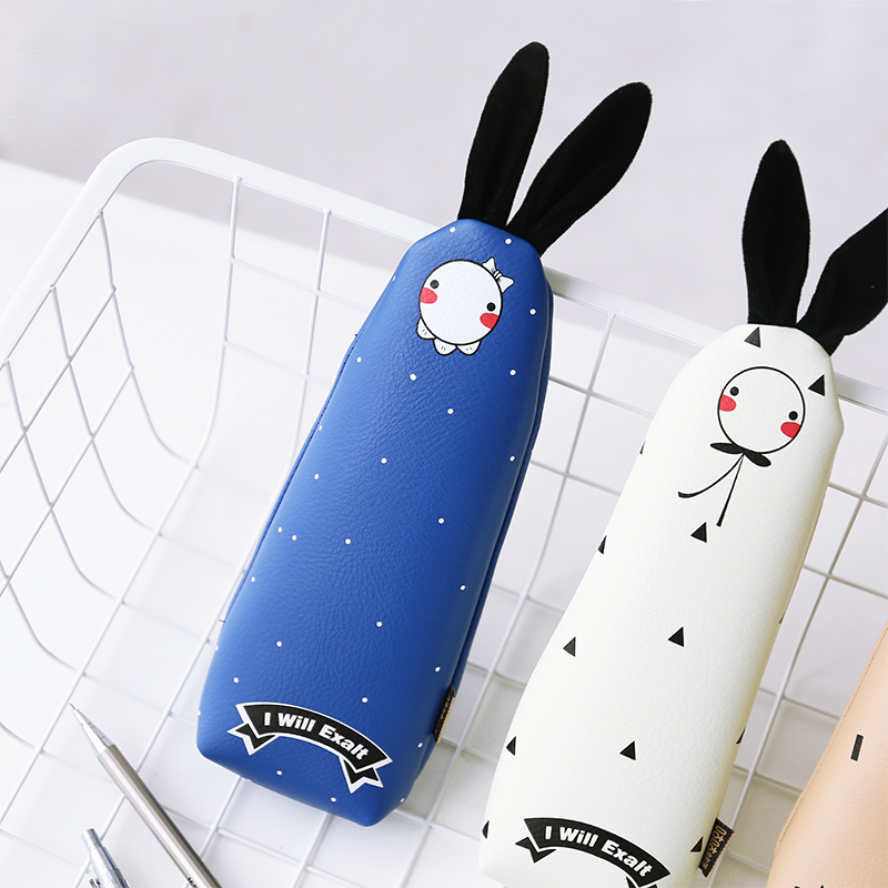 Fashion Korean Style Cute Kawaii Rabbit Pencil Bags PU Material Cartoon Large Capacity Storage Bag Stationery School Supplies cute cartoon women bag flower animals printing oxford storage bags kawaii lunch bag for girls food bag school lunch box z0