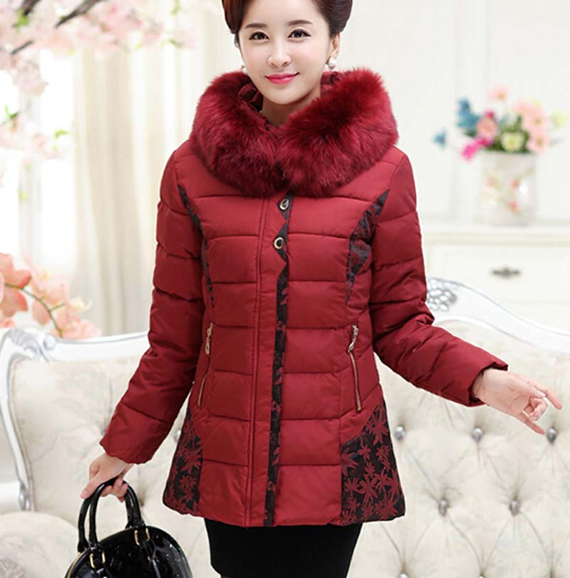 ФОТО 2105 new fashion cotton long middle-aged women aged 40-50 years old women loose plus size thick warm cotton jacket print BL1127