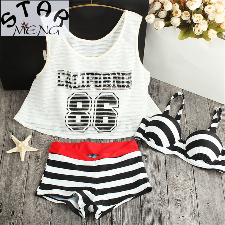 Staerk Real Sale 2017 Vitality Girl Sexy Swimsuit Navy Stripe Small Chest Gather Steel Three Piece Bikini Topping Bikinis page swimsuit sw0670 navy mult