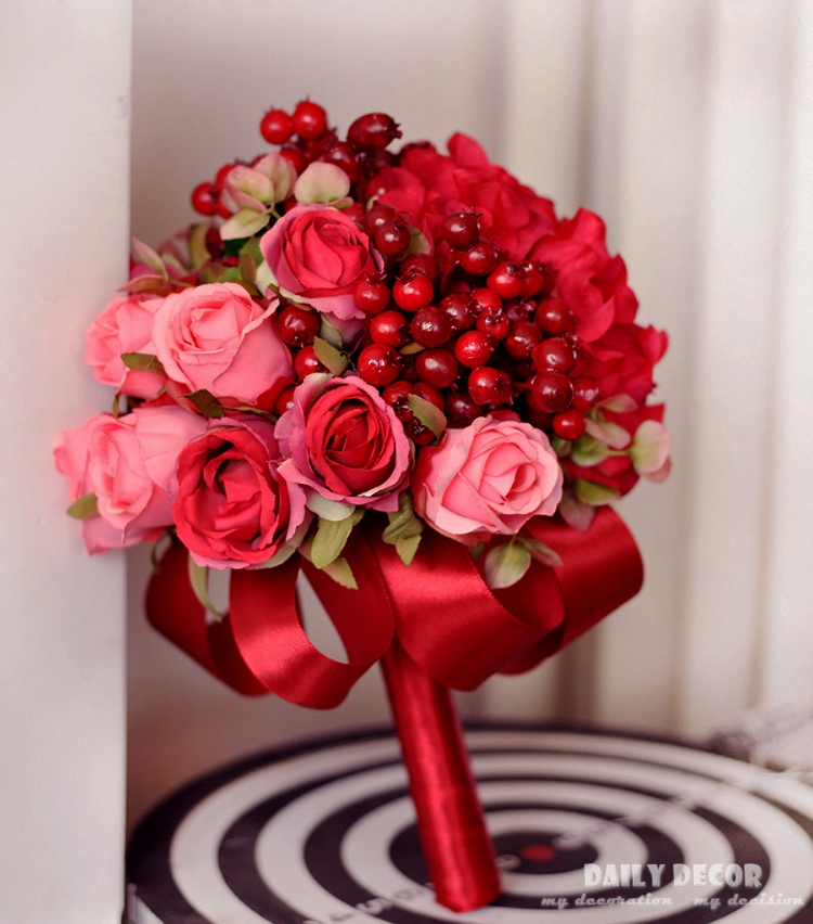 Artificial red rose berry silk flower small wedding bride / bridal bouquet Bridesmaid holding flower for wedding free shipping
